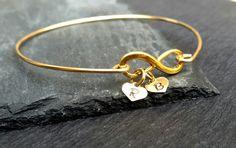 Custom Heart Mom Infinity Bracelet, 14k Gold or Sterling Silver Heart Family Tree Bangle | Birthday Gift for Mom, Nana Gift, Grandma Gift