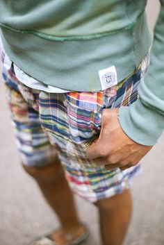 #Prep #Preppy #Polo #RalphLauren Plaid shorts and green sweatshirt