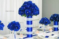 50 Ideas for wedding flowers centerpieces tall blue Royal Blue Wedding Decorations, Blue Wedding Centerpieces, Quinceanera Decorations, Blue Wedding Flowers, Floral Centerpieces, Flower Decorations, Wedding Colors, Wedding Bouquets, Blue Flowers