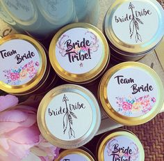 Team Bride Bridesmaid Gift | Hens Party Favour | Bridal Shower Gift | Soy Wax Candles | Petite Gold or Silver Travel Tin | Custom Label