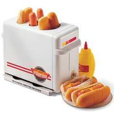 "If you eat hot dogs frequently enough to justify the purchase of a hot dog toaster, I'd say you've got bigger problems. That said...I kiiiiiind of want one. (But let it be known: I still think it's ridiculous.)     //      ""Hot dog toaster. Genius."""