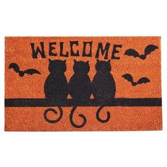 This #Pier1 Black Cats Halloween Doormat would be so cute outside my apartment!