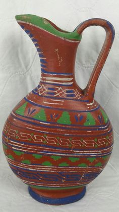 Vintage Mid Century Hand Painted Clay Art Pottery Tall Pitcher Vase MEXICO