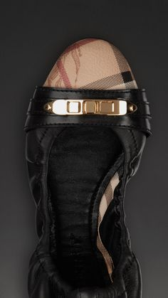 Haymarket Check and Grainy Leather Ballerinas | Burberry