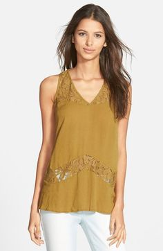 Chloe K Lace Inset Gauze Tank (Juniors) available at #Nordstrom