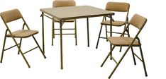 Amazon.com - Cosco Products 5-Piece Folding Table and Chair Set, Tan - Dining Room Furniture Sets