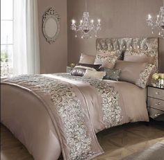 icu ~ Pin on Bedding ideas ~ 27 Sep 2019 - Kylie Minogue Bedding Range Designer PETRA NUDE Matching Accessories Available in Home, Furniture & DIY, Bedding, Bed Linens & Sets Bed Linen Sets, Bed Sets, Glam Bedroom, Home Bedroom, Bedroom Ideas, Silver Bedroom Decor, Mirrored Bedroom, Bedroom Modern, Master Bedrooms