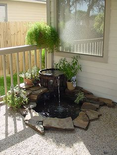55 Gorgeous Backyard With Water Garden Design Ideas Backyard Water Fountains, Diy Garden Fountains, Ponds Backyard, Garden Ponds, Homemade Water Fountains, Ferns Garden, Backyard Waterfalls, Shade Garden, Water Fountain Design
