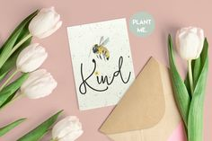 Bee kind seeded greetings card/Be Kind Plantable Card | Etsy Christmas Gnome, Christmas Mugs, Family Christmas, Paper Place, Seed Paper, First Mothers Day, Wildflower Seeds, Seeded, Kraft Envelopes
