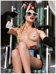 Nadja Auermann by Helmut Newton for Vogue US (1992)