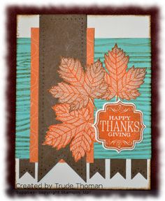 Magnificent Maple stamp, Stampin' Up!  I used a Mojo Monday sketch from July 2012 to make this card. I also found inspiration from Mary Fish. She used this color combination in a card and it intrigued me. I also used the Tags 4 you stamp set.