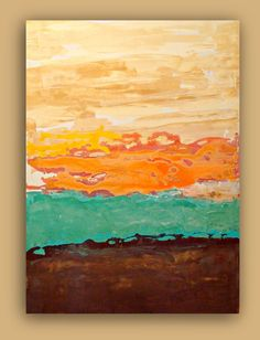 "AQUA and ORANGE Abstract Acrylic Art Titled: Aqua Waves Abstract Acrylic Fine Art Painting on Gallery Canvas 30x40X1.5"". $325.00, via Etsy."