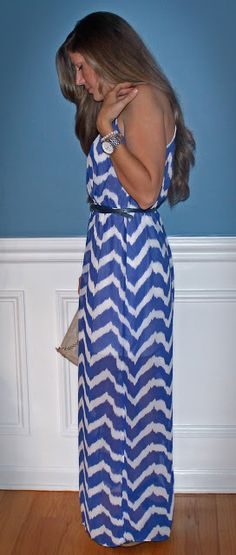 Stacy wearing a Charlotte Russe chevron striped maxi dress! And we totally love the way she styled it!