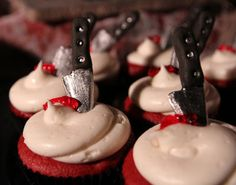 Ghoulish Halloween Stabbed Cupcakes