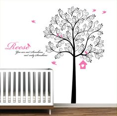 Black and Pink Swirl Tree with Birds-Nursery Baby Wall Decal Vinyl  Moderwalls Etsy