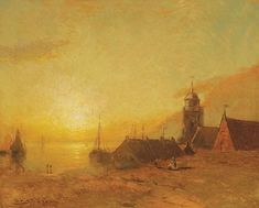 GEORGE H. McCORD American (1848-1909) Sunset over the Village