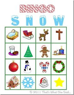 Christmas Bingo Cards!  6 different cards so you can play with a group of kids!!