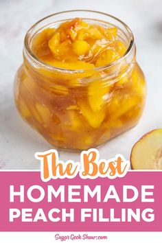 How to make your own homemade peach filling using fresh, frozen, or canned peaches! This peach filling is great for pie, hand pies, cake filling, or fruit topping! Takes less than 10 minutes to make. Fruit Filling Recipe, Cake Filling Recipes, Peach Pie Filling, Fruit Recipes, Pie Recipes, Yummy Recipes, Yummy Food, Peaches And Cream Recipe, Canning Peaches