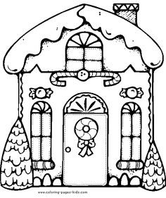 Gingerbread house color page - Christmas Coloring Pages. Coloring pages for kids. Holiday & Seasonal coloring pages - thousands of free printable coloring pages for kids! House Colouring Pages, Coloring Pages To Print, Free Coloring, Coloring Pages For Kids, Coloring Books, Doodle Coloring, Christmas Colors, Christmas Art, Christmas Manger