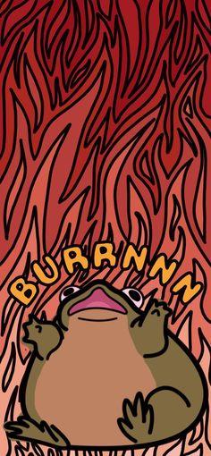 Burn Frog Fire Mobile Wallpaper for Phone / Funny Flame iPhone Background / Dark Humor Kawaii Lock S