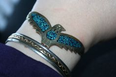 Vintage   Mexican Eagle turquoise cuff by Lanter on Etsy, $40.00