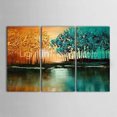 IARTS®Hand Painted Oil Painting Landscape Abstract Jungle Swamp Tree with Stretched Frame Set of 3 2016 - $136.99