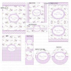 Kits Digitais Charme Papeteria - Floral Lilás e Branco