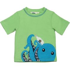 Boys Green T-Shirt - Octopus - Baby Boy Tops - Boys - Little Chickie