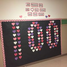 Just a pic-In honor of the 100 th day of school. First grade gave 100 reasons why they love their school and first grade!