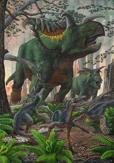 Paleoillustration: Kosmoceratops and Talos by Sergey Krasovskiy