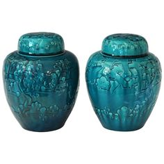 Pair of Turquoise Awaji Pottery Ginger Jars, Covers Applied and Incised Prunus | From a unique collection of antique and modern vases and vessels at https://www.1stdibs.com/furniture/decorative-objects/vases-vessels/