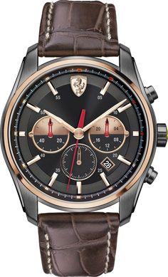 Scuderia Ferrari Men's Chronograph GTB - C Brown Leather Strap Watch 830198 - Men's Watches - Jewelry & Watches - Macy's Modern Watches, Fine Watches, Luxury Watches, Cool Watches, Watches For Men, Men's Watches, Casual Watches, Wrist Watches, Ferrari Watch