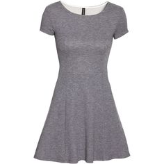 H&M Textured dress ($20) ❤ liked on Polyvore featuring dresses, grey, h&m dresses, h&m, textured dress, grey dress and short sleeve dress
