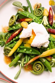 Spring on a plate with Spring onion dressing