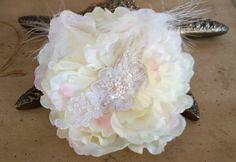 Ivory #Wedding Hair Flower , Wedding Headpiece,  #Bridal Hair Piece,   Ivory Flower Fascinator, Flower Hair Clip, French Lace Hair piece    Dramatic, yet sweet, ivory peonyfl... #wedding #bride #bridal #garter #hairpiece #weddings #ido #bridalcomb #veilcomb #crystalcomb ➡️ http://jto.li/kFqGu