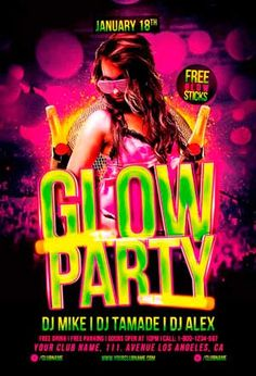 Glow in the Dark Party Flyer | Party flyer and Flyer template