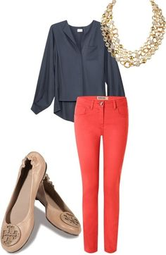 Yummy coral pants and dusty blue blouse. Nude shoes to boot!