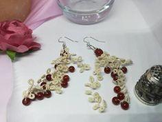 Tassel Earrings, Dangle Earrings, Handmade Jewelry, Handmade Items, Stainless Steel Necklace, Red Berries, Agate Stone, Lace Flowers, Shades Of Blue