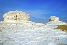 White Desert, Farafra depression, Egypt:      The White Desert is justifiably the most well-known desert destination in Egypt due to the quantity of unearthly and beautiful wind-carved rock formations shaped in the form of giant mushrooms or pebbles.