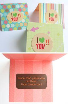 Paquete de 3 Tarjetas  I love you con mensaje por Tianguisonline