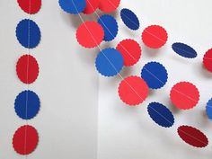 Red and Blue GarlandPaper GarlandCircle by ShopatLilys on Etsy