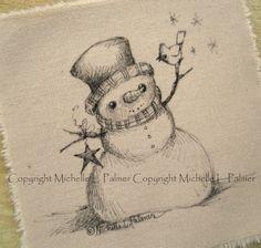 Winter Christmas Snowman Cardinal Songbird Bird Star Original Pen Ink Fabric Illustration Quilt Label by Michelle Palmer November 2013 ♥