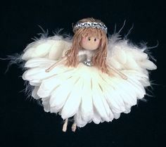 angel fairy doll guardian angel angel by mypapergreenhouse on Etsy Fairy Crafts, Angel Crafts, Xmas Crafts, Doll Crafts, Christmas Fairy, Christmas Angels, Christmas Ornaments, Operation Christmas Child, Clothespin Dolls