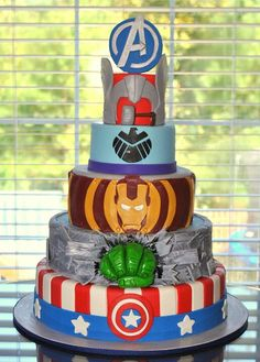 Avengers cake. I'd do the accents with chocolate. I don't do fondant