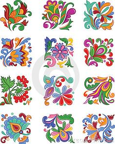 Set of decorative flowers Stock Image - - Folk Art Flowers, Flower Art, Pottery Painting, Fabric Painting, Polish Folk Art, Floral Drawing, Indian Art Paintings, Motif Floral, Mexican Art
