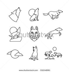 Wolves hauling at the full moon on the rock, jumping and running, wolf cub, head and pack. Thin line art icons set. Modern black symbols isolated on white for infographics or web use. - stock vector