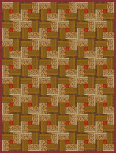 """Learn Partial Piecing when You Make a Woven Logs Quilt: Layout for a 60"""" x 80"""" Woven Logs Quilt"""