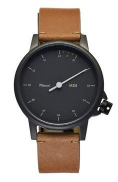 Free shipping and returns on Miansai 'M24' Round Leather Strap Watch, 35mm at Nordstrom.com. Discrete markers shift focus onto the one-handed dial of this uniquely handsome watch. It's the minimalist layout that helps retrain the eye to simultaneously countdown the minutes between each hour's toll. You won't even miss the minute hand—especially in lieu of impressed glances. Plus, an enviably comfortable premium-leather strap from Italy really confirms the notable design.