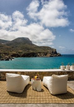 Blue Sand Boutique Hotel, Folegandros, Greece – book through i-escape.com    A gorgeous beachside hotel where lazy days are spent flopping beachside on the terrace's comfy bean bags, then sampling Greek salad and stuffed vine leaves at local tavernas before watching the sun set from your balcony.