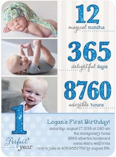 first birthday invitation with stats...cute!